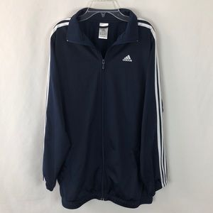 Adidas navy blue jacket with three white stripes